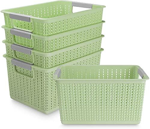Acrux7 5 Pack Plastic Storage Basket, Portable Plastic Weave Kitchen Refrigerator Basket Bathroom Desktop Storage Box for Kitchen, Bathroom and Cabinet - 270mm x 190mm x 140mm (Green)