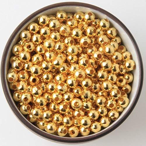 Cuentas de metal para manualidades con forma de bola de oro, rodio, bronce, tono liso, para joyas, 50 unidades