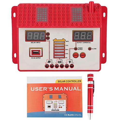 Regulador de carga solar, Regulador de carga solar inteligente Regulador MPPT Carga Pantalla LED Salida USB 12V / 24V(50A)