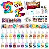 Ucradle 24 colores Tie Dye Kit, Neón Pinturas Textiles de Tela Permanentes Conjunto de Tinte Tie Tie de un Solo Paso Camisa Tela Tinte Duministros No Tóxicos Moda de Bricolaje para Niños, Adultos