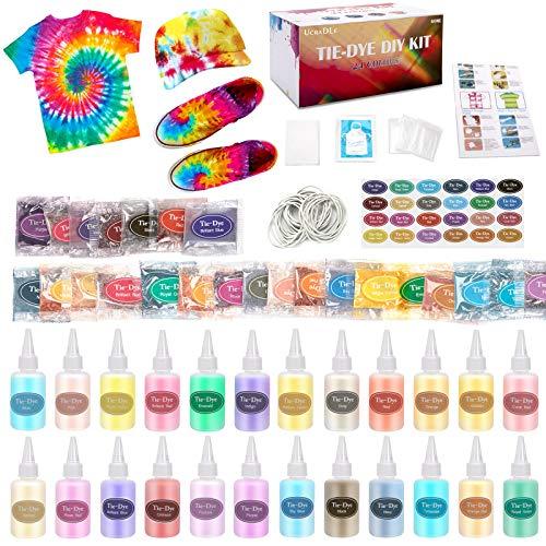Ucradle Tie Dye Kit, 24 Stück Stoff Textilfarben für Kinder, Tie Dye Kit Vibrant Stoff Textilfarben mit 90 Stück Gummi Band, 12 Paar Handschuhe, 2 Schürzen, und 1Vinyl Tischdecke