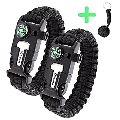 Paracord Bracelet Survival Gear - 550 Premium Black Parachute - Outdoor Emergency First Aid Tool Kit 5 in 1 w/ Compass, Fire Starter, Emergency Knife, Whistle & Rescue Rope - 2 PACK + Monkey KeyChain from Diroca