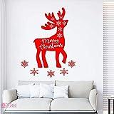 Sticker mural renne de Noël, signe de décor de vitrine de magasin Joyeux Noël, autocollants de flocon de neige de Noël, autocollant de renne de Noël