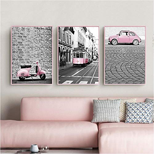 Nordic Pink Girl Series Canvas Painting Black and White Pictures Car Train Poster Print Decoration for Living Room Deco Unframed 50 * 70cm