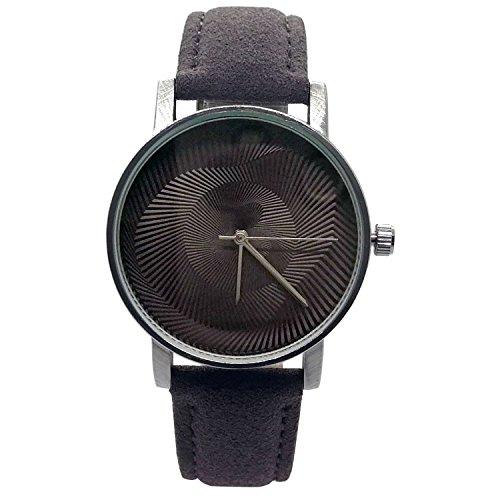 Chronomart Nafisa en Espiral de la Mujer Dial marrón Correa de Piel de Ante Color marrón Reloj de Pulsera na-0142