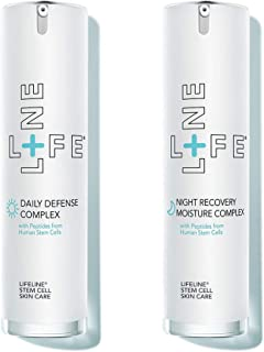 Lifeline Skincare Two Pack Anti-Aging Day/Night Recovery Moisture Serum with stem cell, rejuvenates complexion, reveal visibly smoother, softer skin