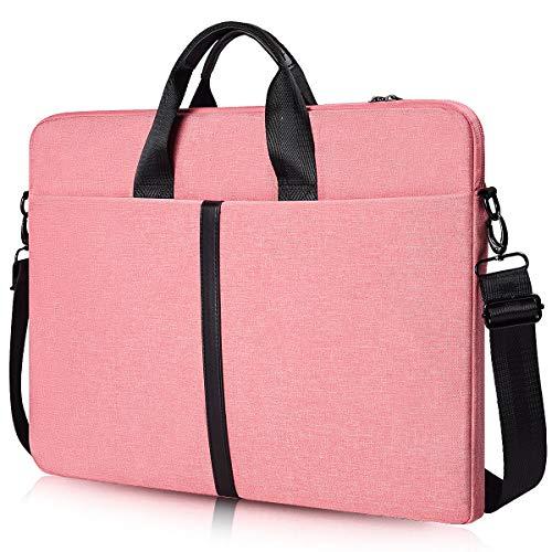 17-17.3 Inch Laptop Shoulder Bag, CASEBUY Waterproof Shockproof Laptop Case for HP ENVY 17 17t, Acer Predator 17, Lenovo Ideapad Y700, 17.3 inch Laptop Bag for Teenage Girls Women, Rose Quartz