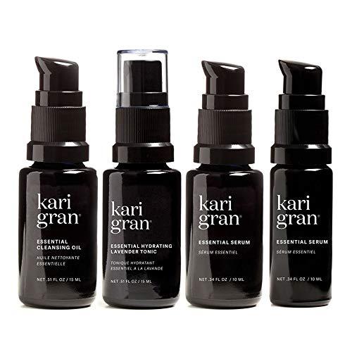 Kari Gran Mini Kit, Lavender, includes Essential Cleansing Oil, Essential Hydrating Lavender Tonic, Essential Serum, and Essential SPF 28.
