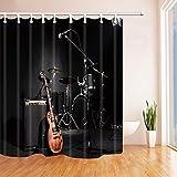 NJMRZX Duschvorhänge für Badezimmer, Grunge Konzert-Instrumente, Gitarre & Trommel, aus schwarzem Polyestergewebe, wasserdicht, Duschvorhanghaken im Lieferumfang enthalten, 180 x 180 cm