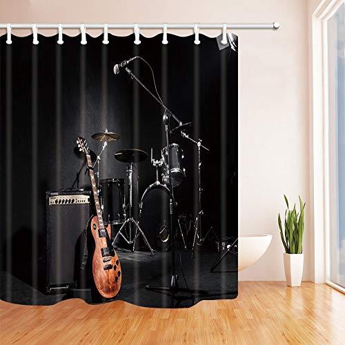 SRJ2018 Música Cortinas Ducha para baño Instrumentos Concierto Grunge Guitarra y Tambor en Tejido Negro Cortina Ducha baño 180X180CM