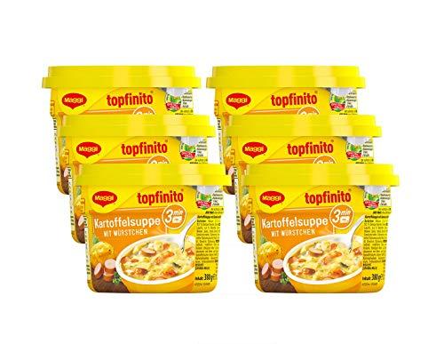 Maggi Topfinito Kartoffelsuppe mit Würstchen: fertige Kartoffelsuppe mit Fleisch & Gemüse, für die Mikrowelle, deftiger Klassiker, 6er Pack (6 x 380g)