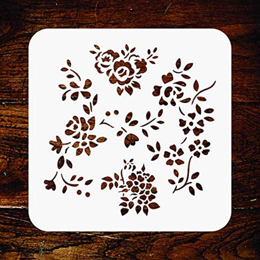 Naive Flowers Stencil - 6.5 x 6.5 inch - Reusable Folkart Rose Flora Flower Wall Stencils Template - Use on Paper Projects Scrapbook Journal Walls Floors Fabric Furniture Glass Wood etc.