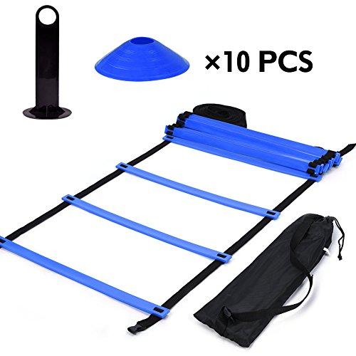 VGEBY Geschwindigkeits-Agility-Training-Set, 5,1 m Koordinationsleiter, flache Leiter + 10 Stück Scheibenkegel für Athletik-Training (Farbe: Blau)
