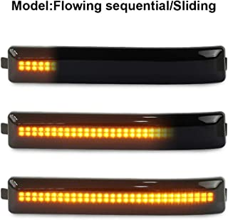 Gempro 2Pcs Sequential Amber LED Side Mirror Marker Light Lamp Assembly For Ford F-150 Raptor SVT, Replace OEM Mirror Marker Lamps