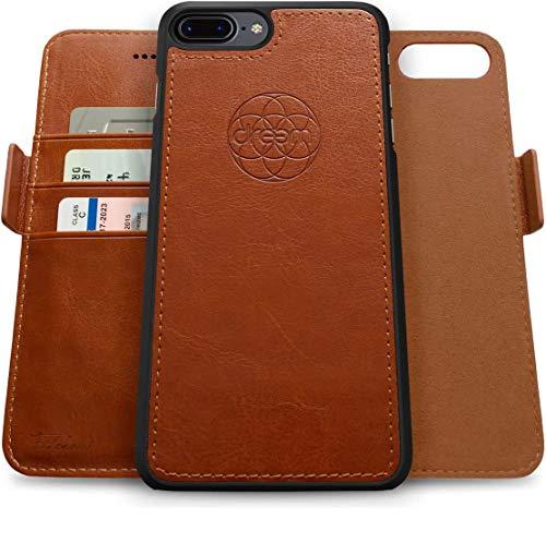 Dreem Fibonacci 2-in-1 Wallet-Case for Apple iPhone 8 Plus & 7 Plus - Luxury Vegan Leather, Magnetic Detachable Shockproof Phone Case, RFID Card Protection, 2-Way Flip Stand - Caramel