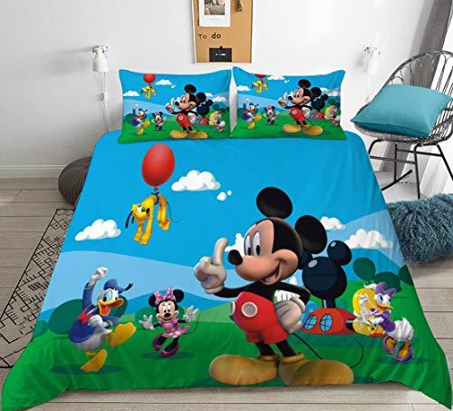 DFTY Disney Mickey & Minnie - Juego de ropa de cama reversible (1 funda de edredón y 1 funda de almohada de 1/2 pieza, 100% microfibra, impresión 3D), 04, 220*240CM