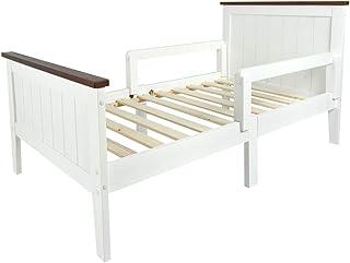 Leomark Individual Cama Infantil de Madera - PARIS WALNUT - con somier, barra de seguridad, para niños, color blanco, moderno y elegante Mobiliario Pino, Espacio para dormir: 70x140 cm