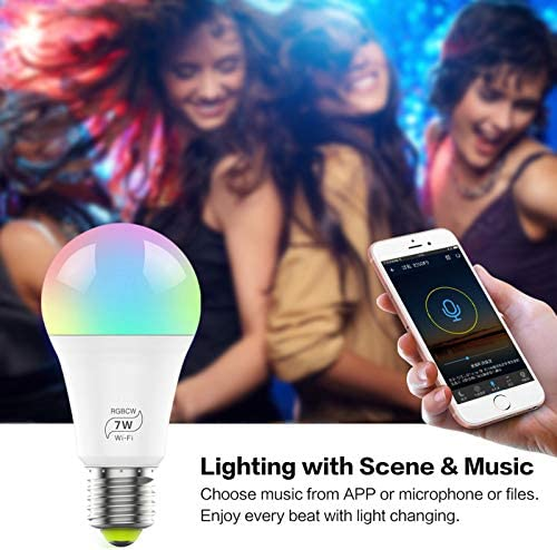 1 unidad Bombilla E27 regulable LED E27 Smart LED Alexa WiFi bombilla E27 7 W equivalente a 60 W Edison RGB bombilla compatible con Alexa  Google Assistant