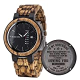 BOBO BIRD Mens Engraved Wood Watch for Men Boyfriend Husband Him As Personalized Anniversary Christmas Birthday Father Day Wooden Gifts Idea with Wood Box (Black-FB)