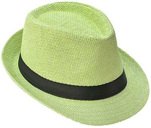 Strohhut Panama Fedora Trilby Gangster Hut Sonnenhut mit Stoffband Street Style (54, Grün (Strohhut))