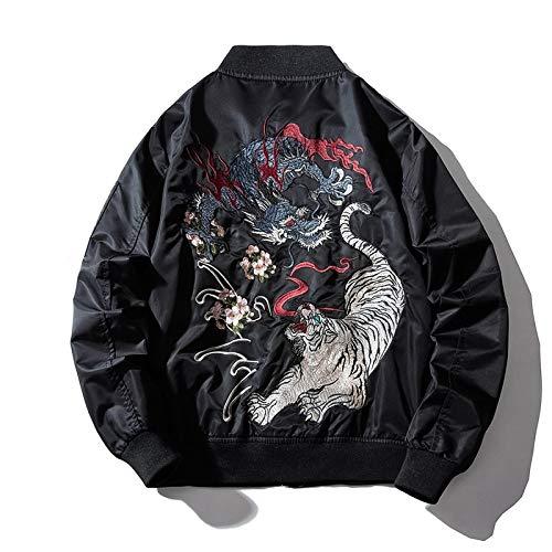 ZHAOXIANGXIANG Herrenjacke,Stickerei Herren Bomberjacke Drachentiger Herbst Winter Pilot Jacke Herren Hip Hop Japanische Baseball Jugendjacke Streetwear, XL