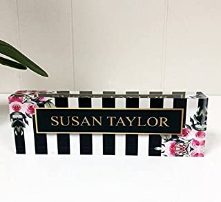 Artblox Office Desk Name Plate Personalized | Custom Name Plates for Desks on Acrylic Glass Decor | Office Desk Decor Nameplate | Desk Accessories | Stripes & Roses - (8