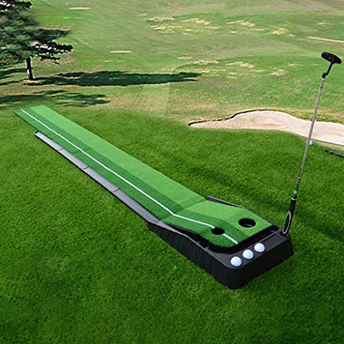 Indoor Outdoor Golf Set Ball Auto Return Putting Mat, Professional Portable Practice Mini Golf Trainer Putting Green