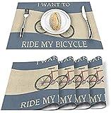 Tovagliette Set di 4 Voglio andare in bicicletta Cartone animato Retro Bicicletta Poliestere Resistente alle macchie Tovagliette Tovagliette lavabili Decorazione per casa, cucina, ufficio Colorato