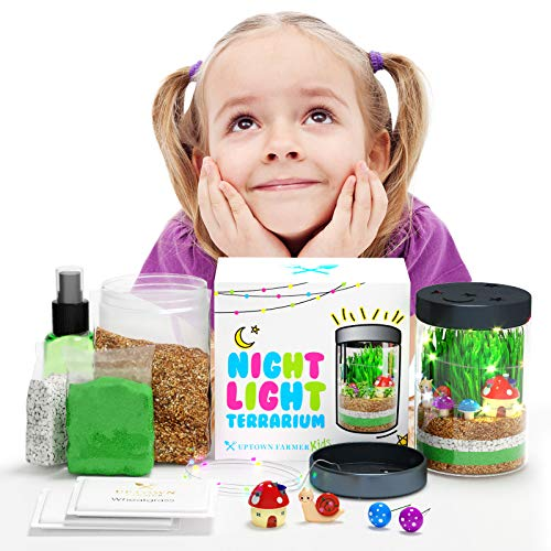 Uptown Farmer Kids: Terrarium Kit for Kids w LED Night Light - Gifts for 8 Year Old Girls - Arts and Crafts for Girls Age 8 w USA Seeds + Soil + Figurines - Kids Science Experiment Kits for Christmas
