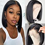 Ainmeys Hair 12inch short bob wigs 13x4 Lace Front wigs human hair straight bob wigs Brazilian virgin Straight bob human Hair Wigs For Black Women Bleached Knots Pre Plucked with baby hair