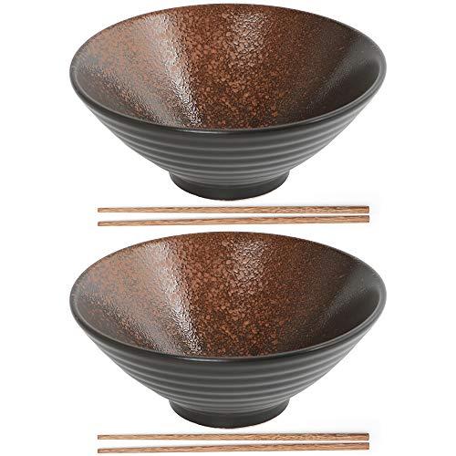 SAYOPIN Ramen Schüssel, Großer Japanischer Schüssel mit Stäbchen 900ml, Vintage Ramen Bowl Salatschüssel, Persönlichkeit Suppenschüssel für Müsli, Udon Nudel, Vorspeise(Braun)