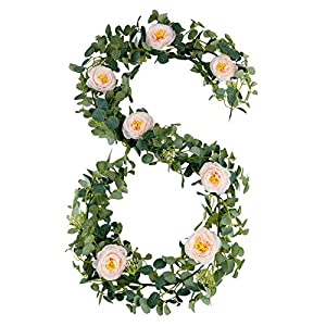 Silk Flower Arrangements Ticlooc Artificial Flower Garland Eucalyptus Leaves Greenery String with Champagne Camellia for Doorways Indoor Outdoor