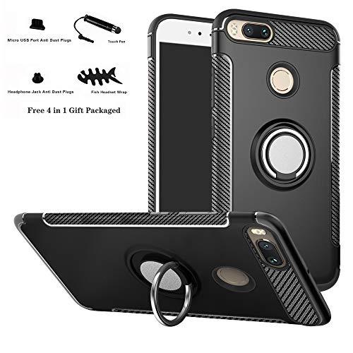 Labanema Xiaomi Mi 5X / Mi A1 Hülle, Ring Kickstand 360 Grad rotierenden Fingerring Grip Drop Schutz Stoßdämpfung Weichen TPU Cover für Xiaomi Mi 5X / Mi A1 (mit 4in1 Geschenk verpackt) - Schwarz