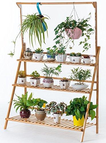 ILQ Salle de séjour accrochant plusieurs étagères de fleur d'étage Balcon de plancher en bois accrochant le support de pot de fleur de panier,100 * 40 * 96 cm,Couleur du bois