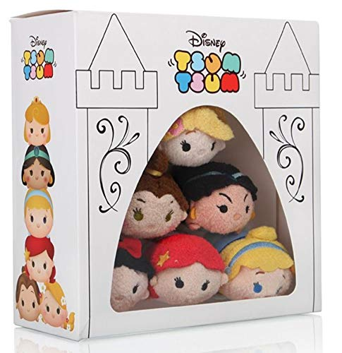 Tsum Tsum Disney Princess Box Set Mini peluche de peluche (rayo, jazmín, belle, Cenicienta, Aries, blanco nieve)
