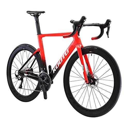 SAVADECK KOOTU Carbon Rennrad, 700C Voll Kohlefaser Fahrrad Vollintegriertes Innenkabel mit Shimano R8070 Hydraulische Scheibenbremse und ULTEGRA R8000 22 Gänge Fizik Sattle (Rot, 56cm)