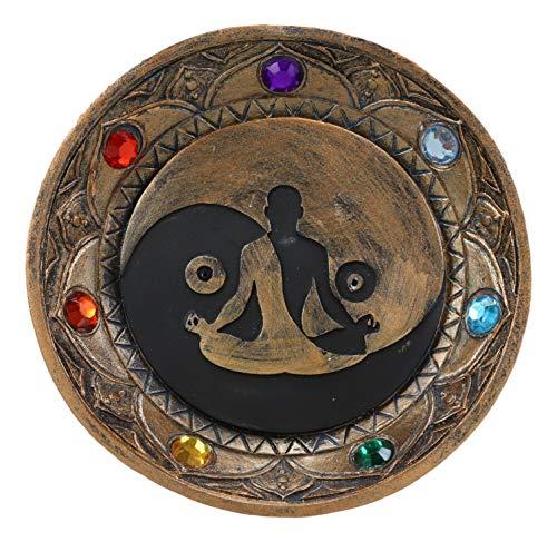 Ebros Gift Yoga Meditation Yin Yang Symbol with Chakra Zone Color Beads Incense Sticks Holder Burner Round Dish Medallion Figurine 5