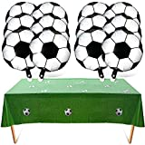 13 Pieces Soccer Party Decoration Include 1 Piece Soccer Plastic Tablecloth and 12 Pieces Soccer Foil Balloons for Birthday Party World Cup Party