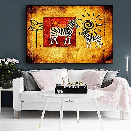 QWESFX Afrika Zebra Kunst Vintage Leinwand Malerei Katze Gemälde auf Leinwand Gemälde Set gestreckte Leinwand für Gemälde für Schlafzimmer (Druck ohne Rahmen) A5 60x120CM