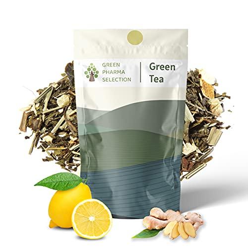 Té verde orgánico con Jengibre y Limon a granel. 100gr 50 tazas. Te puro de hojas sueltas. Rico en vitaminas, minerales y antioxidantes. Este té crea una industria justa y sostenible para agricultores