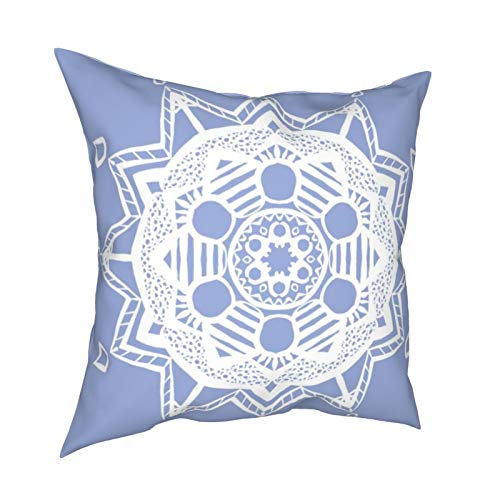 Uliykon Blueberry Mandala Classic Round Sticker Fundas de cojín decorativas cuadradas suaves fundas de almohada para sofá dormitorio coche con cremallera invisible 45,7 x 45,7 cm