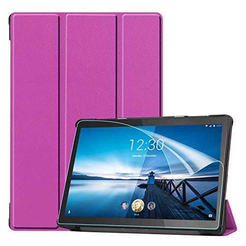 Keteen Funda para Lenovo Tab M10 FHD Rel Flip Cover Fina Premium PU Cuero Cuero Flip Cover Soporte Plegable Cover Full Body Funda para Lenovo Tab M10 FHD Rel TB-X605FC/X605LC, Púrpura