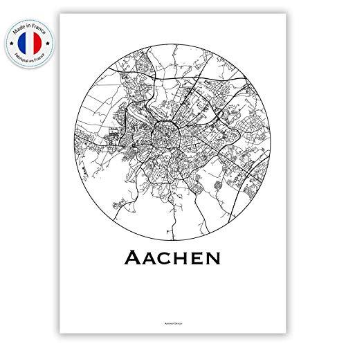 Plakat Aachen Deutschland Minimalist Map - Poster, City Map, Dekoration, Geschenk