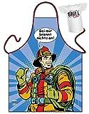 Geile-Fun-T-Shirts Grillschürze Bei Mir brennt Nichts an Feuerwehr Comic Look Schürze geil Bedruckt Geschenk Set mit Mini Flaschenshirt