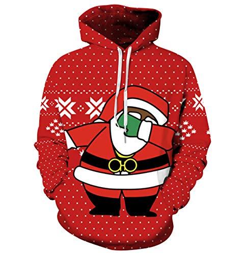 Sudaderas de Navidad con Capucha Hombre Jersey Navideño Mujer Sueter Sweaters Sudadera Estampadas Hoodies Personalizadas Sweaters Jerseys Navideños Renos Oversize Suéteres Feos Juveniles Unisex L/XL