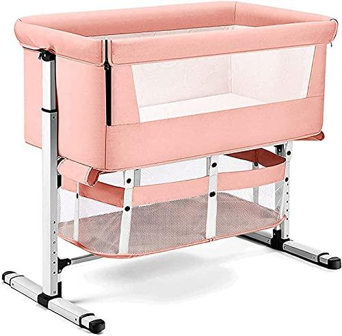 ZGYZ Cuna de cabecera,Cuna,3 en 1,Cuna Cama de bebé con Red Transpirable,Cama de Noche,Cama portátil Ajustable para bebé/bebé,Rosa