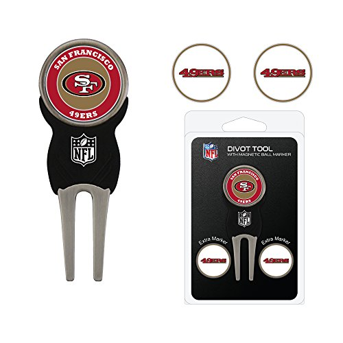 Team Golf NFL San Francisco 49ers Divot Tool with 3 Golf Ball Markers Pack, Markers are Removable Magnetic Double-Sided Enamel