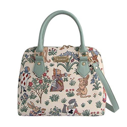 Signare tapiz mochila bandolera bolsos pequeños para mujer con diseños de jardín (Alicia en el país de las Maravillas)