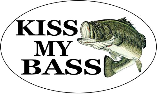 Rogue River Tactical Kiss My Bass Fish Sticker Decal Fishing Bumper Sticker Fish Auto Decal Car Truck Boat RV Real Life Rod Tackle Box