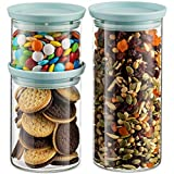 Godinger Food Storage Containers, Stackable Organization Canister Glass Jars - Mixed, Set of 3